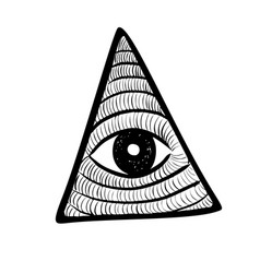 All seeing eye in delta triangle pyramid and vector