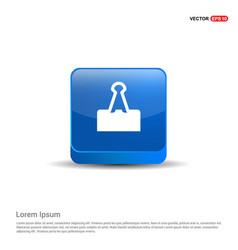 Attach paper icon - 3d blue button vector