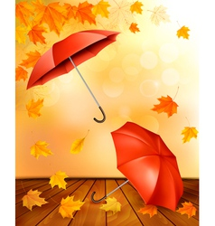 Autumn background with autumn leaves and orange vector image