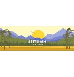 Autumn landscape with yellow meadow forest vector