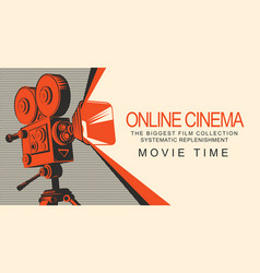 banner for online cinema with old movie projector vector image