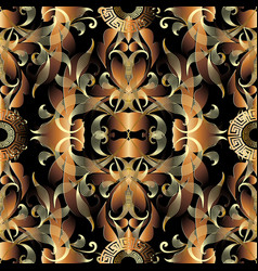 Barogue gold vintage 3d seamless pattern floral vector