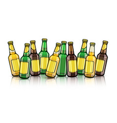 Beer bottles with empty labels vector