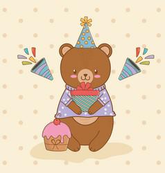 Birthday card with cute bear teddy woodland vector