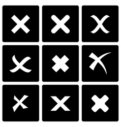 black rejected icon set vector image