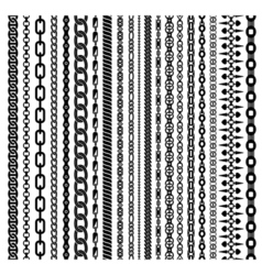 Black vertical chains set vector