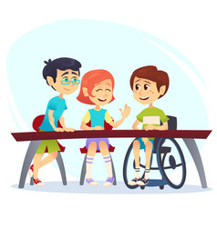 Boy in wheelchair sitting at table in canteen and vector