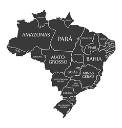 Brazil map with labels black vector