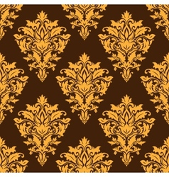 Brown damask seamless pattern vector