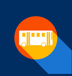 bus simple sign white icon on tangelo vector image