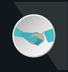 business human and robot hands shake vector image