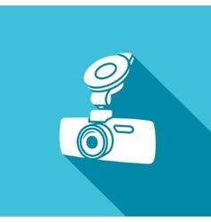 Car digital video recorder icon - white car vector image