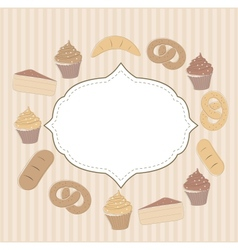 Card with cupcakes and other sweet food vector image