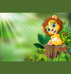 Cartoon of baby lion sitting on tree stump with gr vector