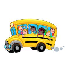 Cartoon school bus with happy child students vector