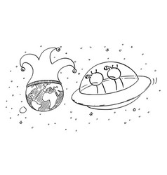 Cartoon two funny aliens in ufo or flying vector