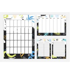 Collection month weekly planner to do list vector