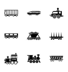 Commuter train icons set simple style vector