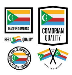Comoros quality label set for goods vector