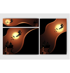 cool helloween background with witch full moon vector image