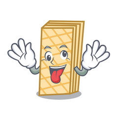 crazy waffle mascot cartoon style vector image