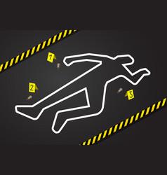Crime scene do not cross police tape chalk vector