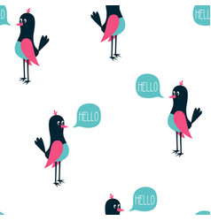 cute bird scandinavian pattern vector image