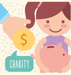 Cute girl piggy bank coin donate charity vector