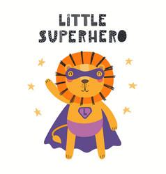 Cute lion superhero vector