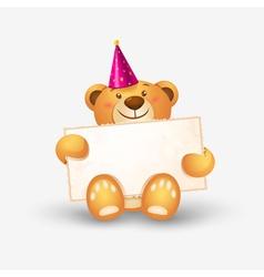 Cute teddy bear with a banner vector