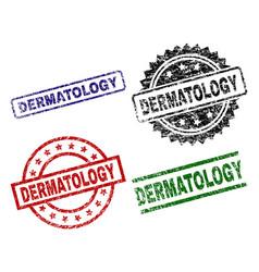 Damaged textured dermatology stamp seals vector