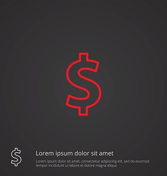Dollar outline symbol red on dark background logo vector