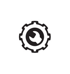engineering icon gear and wrench service symbol vector image