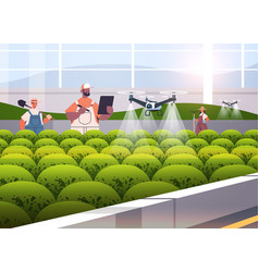 Farmers controlling agricultural drones sprayers vector