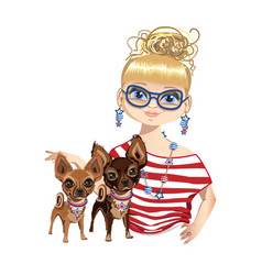 fashionable girl with a little dog vector image
