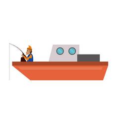 fisherman in boat vector image