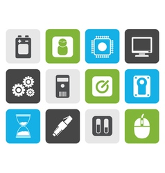 Flat Computer and mobile phone elements icons vector