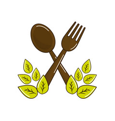 fork and spoon kitchen tools with leaves vector image