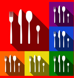 fork spoon and knife sign set of icons vector image