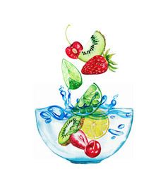 Fruits and berries falling into glass bowl vector