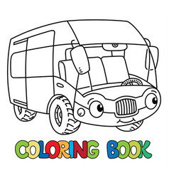 funny bus or van with eyes coloring book vector image