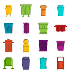garbage container icons doodle set vector image