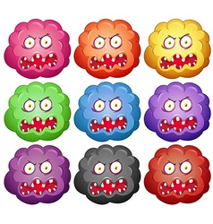 Germ with monster faces vector