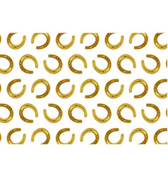 golden horseshoe on white background vector image
