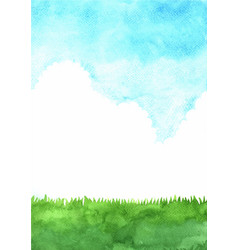 green grass meadow with cloud sky watercolor vector image