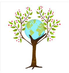 Green tree hand with earth for nature concept vector
