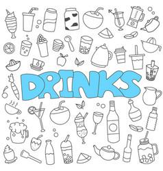 hand drawn doodle beverages set vector image