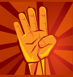 Hand shows four finger with red background symbol vector