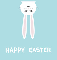 happy easter white bunny rabbit funny head face vector image