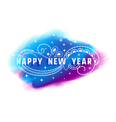 happy new year watercolor decorative background vector image